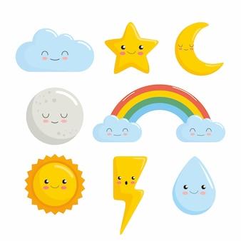 Wolk ster maan zon regenboog water kawaii karakters