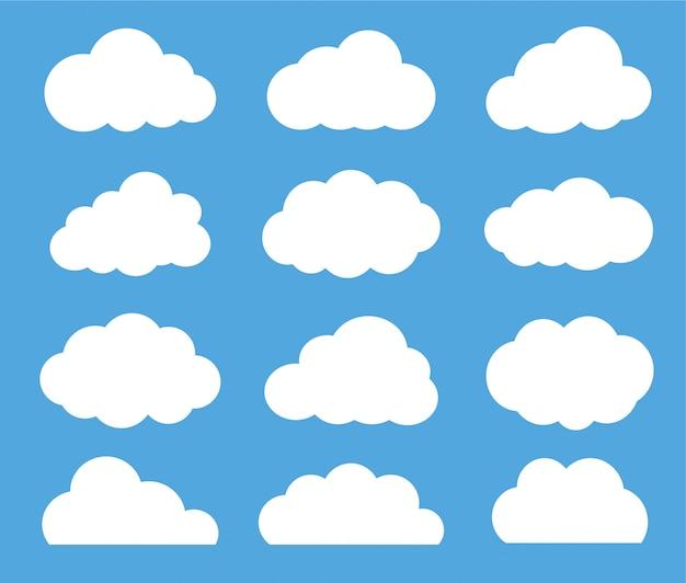 Wolk vector icon set witte kleur op blauwe achtergrond.