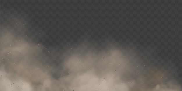 Wolkcondensatie of witte rook op transparante achtergrond.