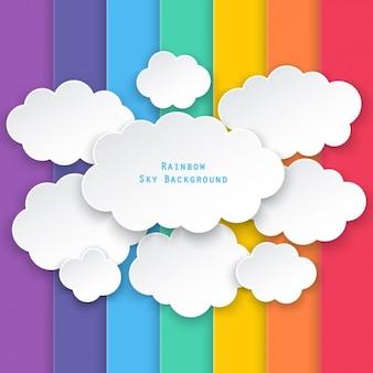 Wolken op een achtergrond van gekleurde balken