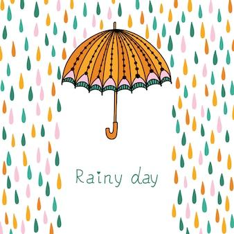 Wolken, regen en paraplu.