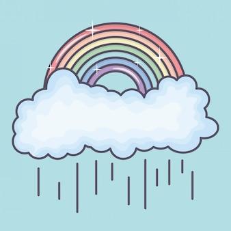 Wolken regenachtige hemel met regenboogweer