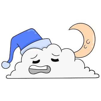 Wolken 's nachts wanneer de wassende maan snel in slaap is, vectorillustratieart. doodle pictogram afbeelding kawaii.
