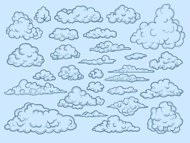 Wolken schets. decoratieve luchtelementen weerwolken cloudscape vintage stijl. cloud collectie ontwerp, bewolkte ouderwetse schets illustratie