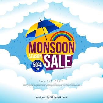 Wolken verkoop moesson achtergrond met paraplu