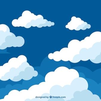 Wolkenachtergrond in vlak ontwerp