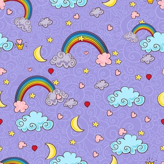 Wolkenachtergrond, regenboog naadloos patroon