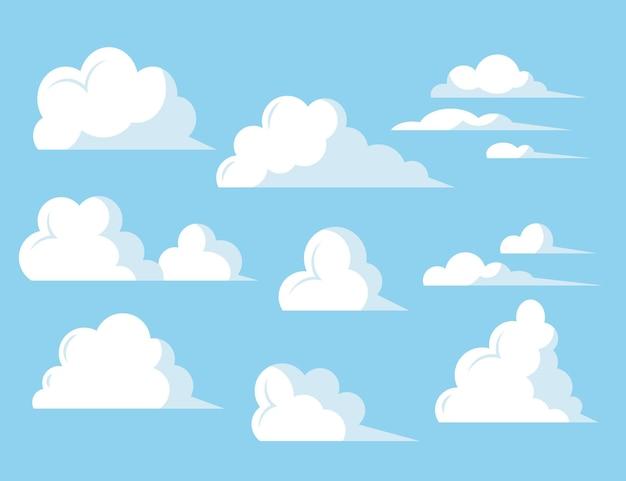 Wolkencollectie met plat ontwerp