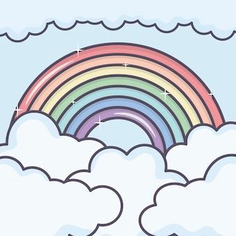 Wolkenhemel met regenboogweer