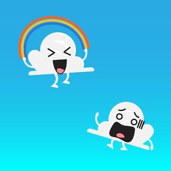 Wolkenkarakter en vriend die regenboogkabel springen