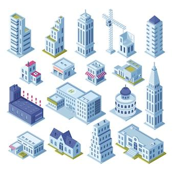 Wolkenkrabber gebouw en zakelijke kantoor bij downtown district pictogrammen