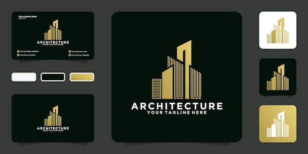 Wolkenkrabber logo-ontwerpinspiratie met luxe gouden kleur en visitekaartje