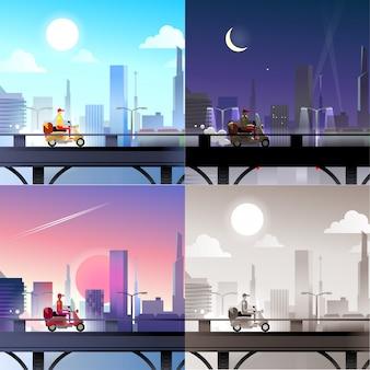 Wolkenkrabber stad scape pizza bezorger rijden scooter fiets concept daglicht, nacht maanlicht, zonsondergang weergave vector illustratie set.