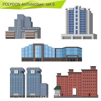 Wolkenkrabbers, stadshuizen en gebouwen veelhoekige stijlenset.