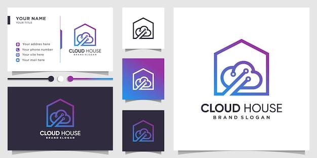 Wolkenlogo met huisconcept en visitekaartjeontwerp premium vector