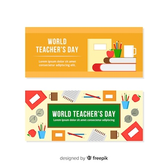 Wolrd teacher's day banners met plat ontwerp