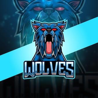 Wolven esport mascotte logo ontwerp