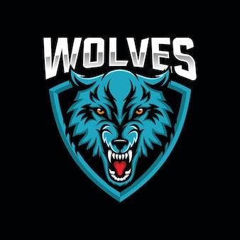 Wolven esports logo ontwerp vector sjabloon