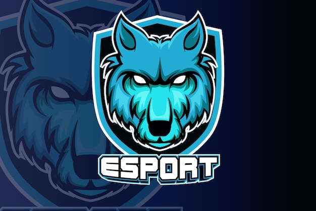 Wolven hoofd esport logo team sjabloon
