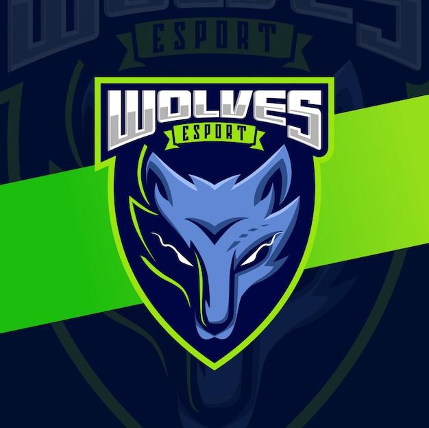 Wolven hoofd mascotte esport logo ontwerp
