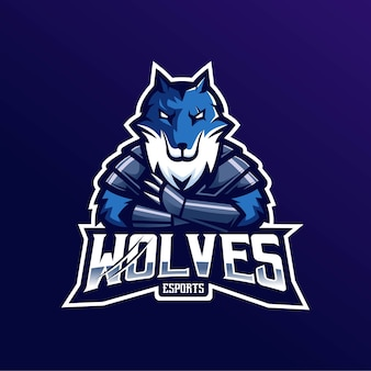 Wolven mascotte logo embleem voor esport