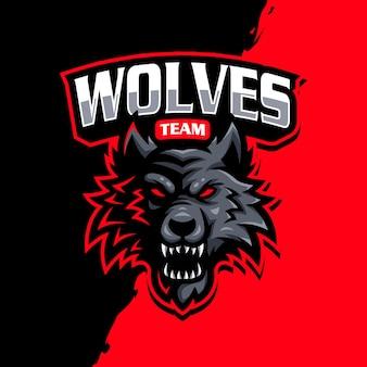 Wolven mascotte logo esport gaming