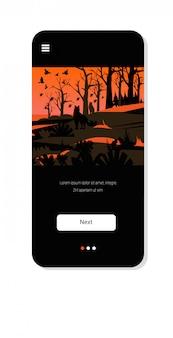 Wolven ontsnappen uit bosbranden in australië wildvuur vogels vliegen over bushfire brandende bomen natuurramp concept intense oranje vlammen smartphone scherm mobiele app