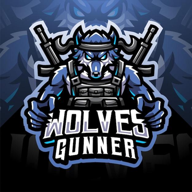 Wolven schutter esport mascotte logo ontwerp