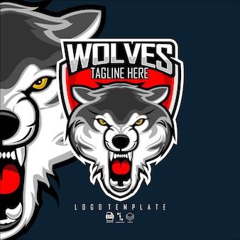 Wolves head esports logo sjabloon met een donkerblauwe achtergrond