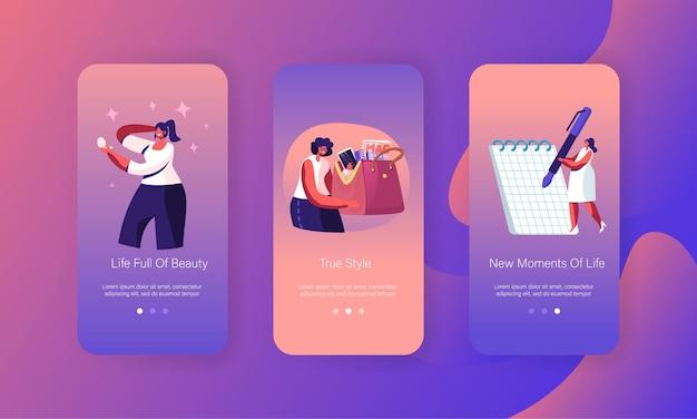 Woman lifestyle en ladies stuff mobiele app-pagina schermset aan boord.