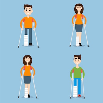 Woman on crutches, man on crutches set character