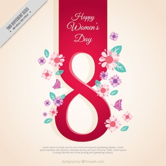 Woman's day achtergrond met nummer acht en bloemen details