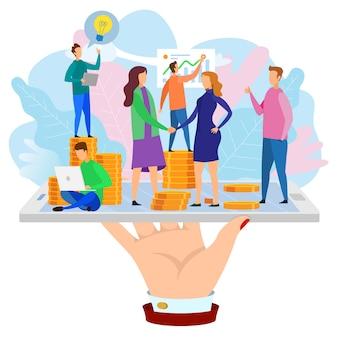 Woman shake hand ontwikkelaar team rapport grow chart