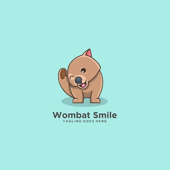 Wombat smile happy mascot.