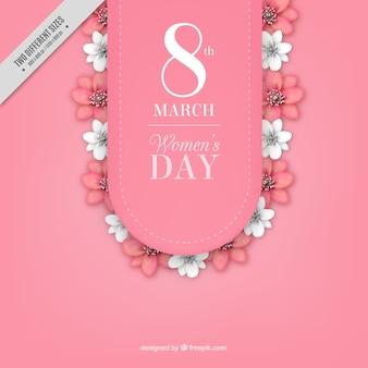 Women's Day achtergrond met witte en roze bloemen