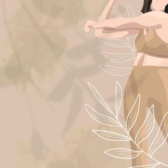 Women's gezondheid bloemen achtergrond vector in bruin wellness-thema