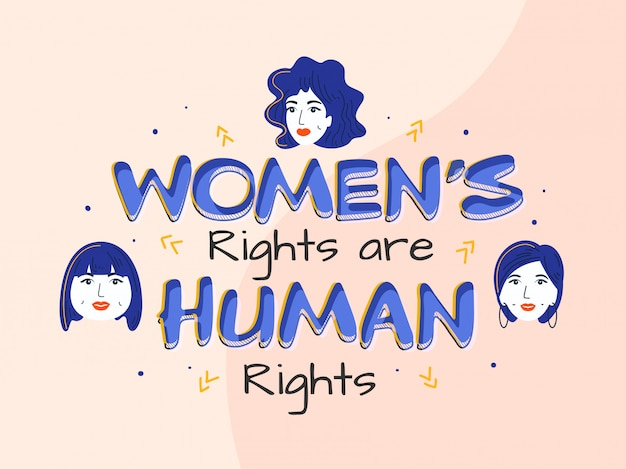 Women's rights are human rights text met young girls face op pastel pink background.