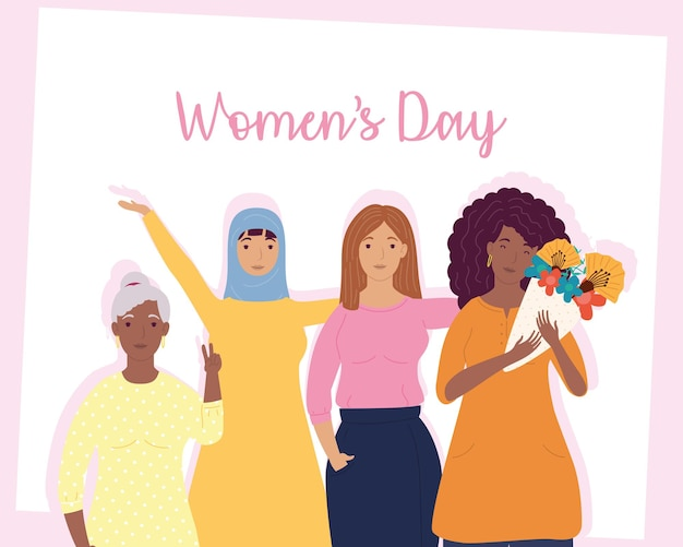 Womens dag belettering met groep interraciale meisjes karakters illustratie