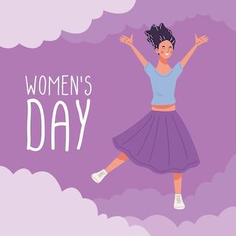 Womens dag belettering met jonge vrouw gelukkig springen karakter illustratie