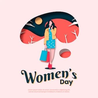 Womens dag concept in papierstijl