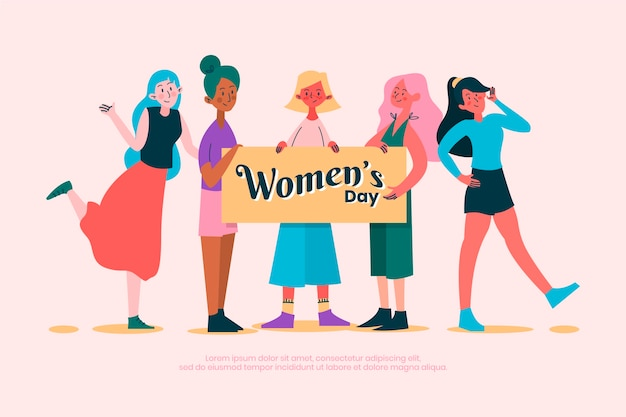 Womens dag concept in plat ontwerp