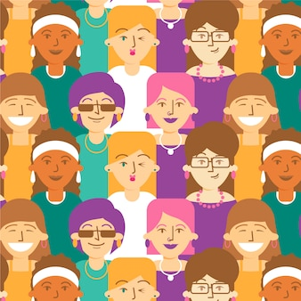 Womens dag patroon met vrouwen gezichten
