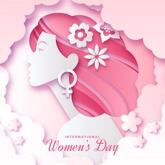 Womens day-evenement in papieren stijl