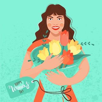 Womens day wenskaart. mooi meisje dat een boeket van tulpen in haar handen houdt.