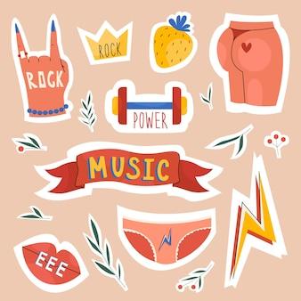 Womens music set collectie op stickers en badges ontwerpen voor festivals handgetekende stijl