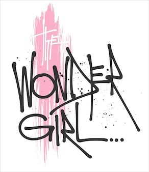 Wonder girl typografie voor print t-shirt.