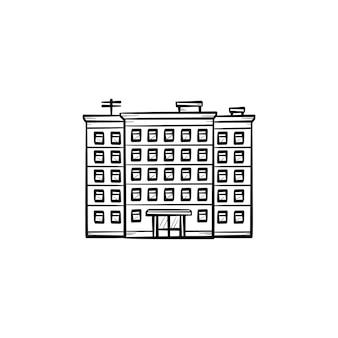 Woningbouw hand getrokken schets doodle pictogram. flatgebouw, druk appartementenconcept