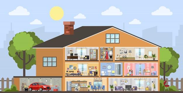 Woningbouw interieur plan met de garage.