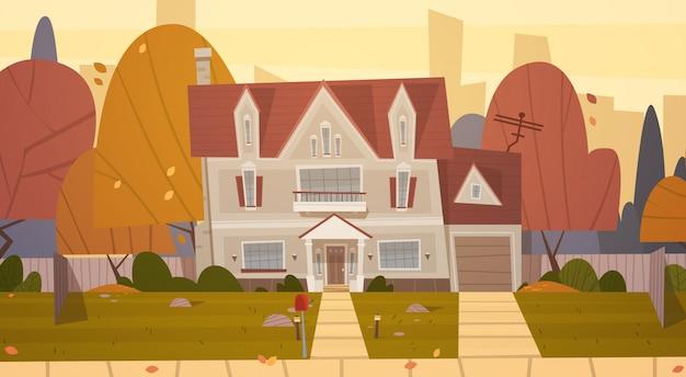 Woningbouw voorstad van grote stad in de herfst, cottage real estate cute town concept
