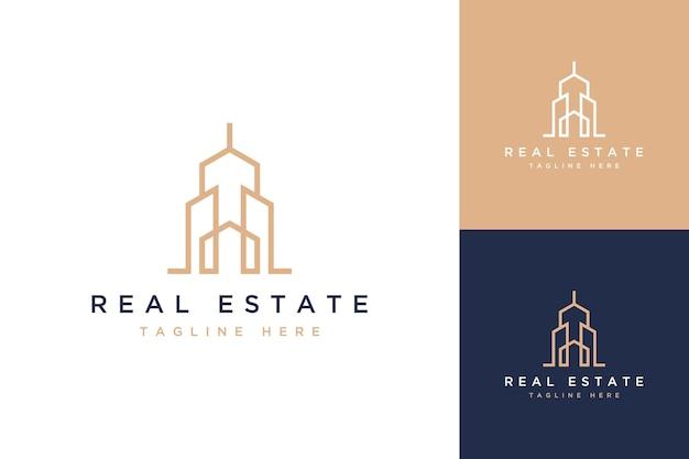 Woningbouwontwerp logo of huis met gebouw